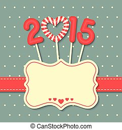 happy new year 2015 - year 2015 sweet candy with frame and...