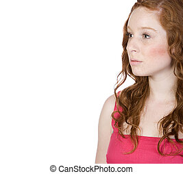 Shot of a Red Headed Teen Looking into Copyspace