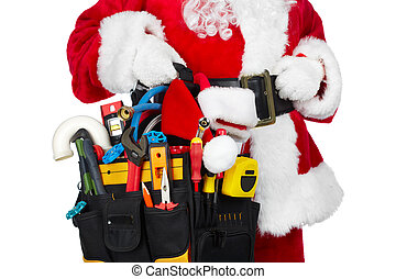 Santa Claus with a tool belt.
