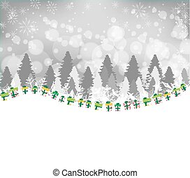 Winter forest background with gift