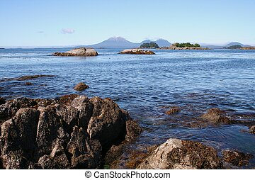Rocky Shore with Mt Edgecumbe Volcano - Landscape with Mt...