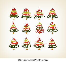 vintage christmas snow on trees set