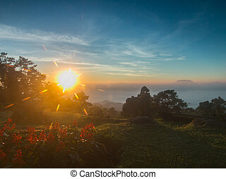 Sunrise on the high mountain in morning at Huai Nam Dang Nationa