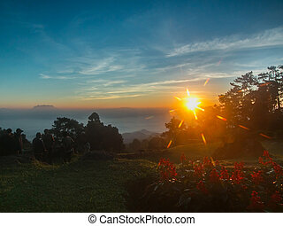 Sunrise on the high mountain in morning at Huai Nam Dang...