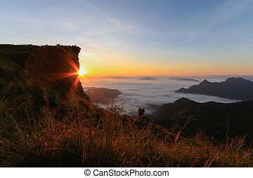 Sunrise on the high mountain in morning at PHU CHI FA,Thailand