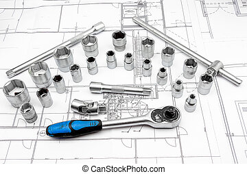 socket - for chrome socket wrench Isolated on plan from...