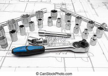 socket - for chrome socket wrench. Isolated on plan from...