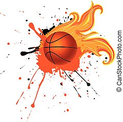 Fire Basketball Ball - Grunge background with basketball...