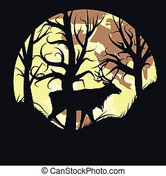 Stag over Full Moon - Silhouette of a stag in the forest...