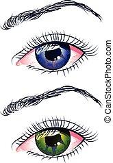 Violet and Green Eyes - Two female eyes, violet and green...