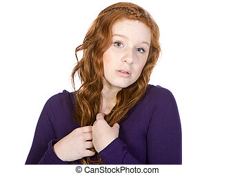 Shot of an Anxious Red Headed Teenager