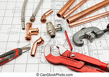 Plan plumber - Plumbing Tools Arranged On House Plans whit...