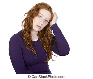 Shot of a Cute Red Headed Teen Scratching her Head