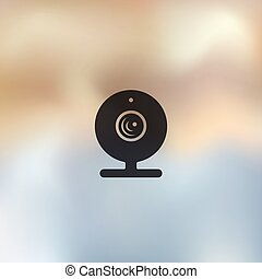 webcam icon on blurred background