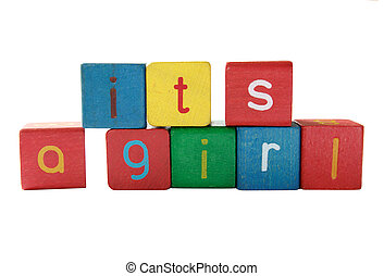 girl birth announcement in blocks - it\'s a girl in colorful...