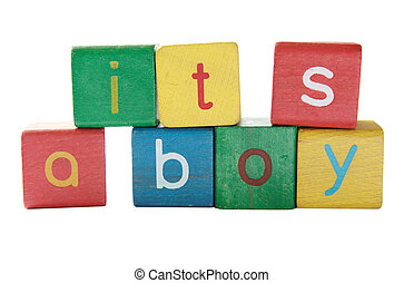 boy birth announcement in blocks - its a boy in colorful...