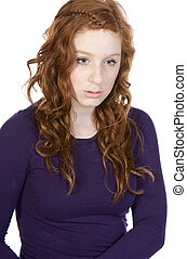 Shot of a Red Headed Teen Looking Sad against White Background