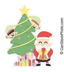 Christmas background with Santa claus and Christmas elf