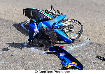SURATTHANI - JULY 18 : Motorcycle accident on the road and...