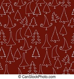 vintage christmas trees doodle