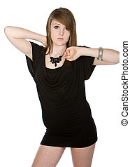 Shot of a Pretty Teenager in Black Dress