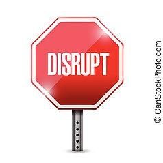 disrupt street sign illustration design over a white...
