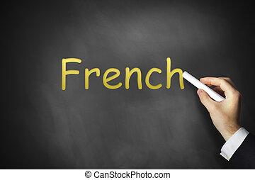 mão, escrita, francês, ligado, chalkboard,