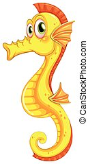 A seahorse - A yellow seahorse on a white background