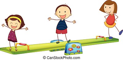 Kids playing with the seesaw on a white background