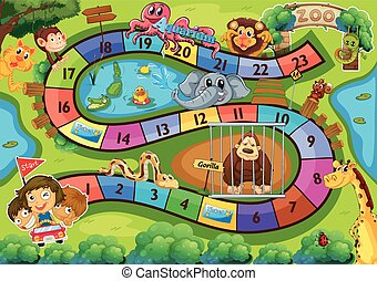 Board game - Illustration of a board game with zoo...
