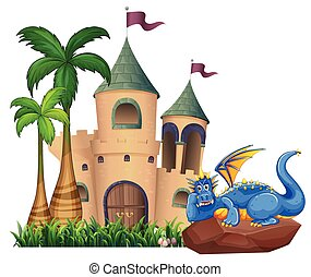 A dragon across the castle - A blue dragon across the castle...