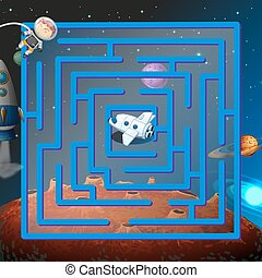A maze game in the outerspace