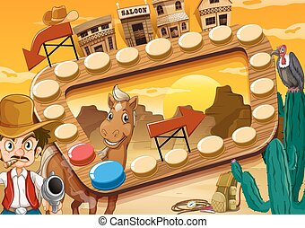 Board game with desert and cowboy theme