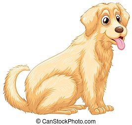 A dog panting - A cute dog panting on a white background