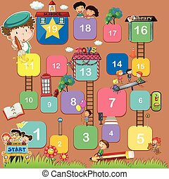 A boardgame with numbers - An educational boardgame with...