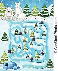 A maze game with polar bears