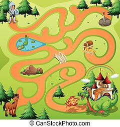Maze Game  - Maze game board with warrior an dragon theme
