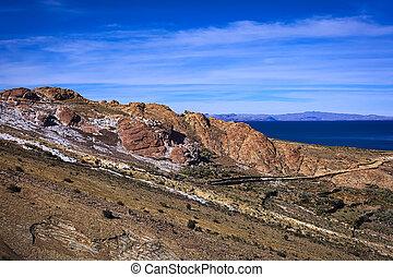 rocoso, ladera, con, Trayectoria, en, ISLA, del, Sol, en,...