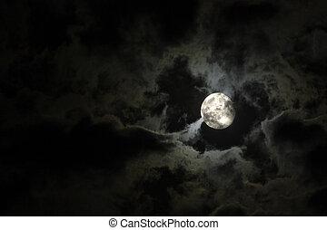 Lleno, luna, misterioso, blanco, nubes, contra, negro,...