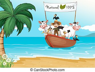 A boat with animals at the beach - A boat with a farmer and...