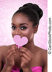 African woman heart love Valentine - African American black...