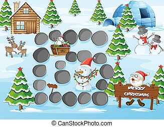 Board game with Merry Christmas theme