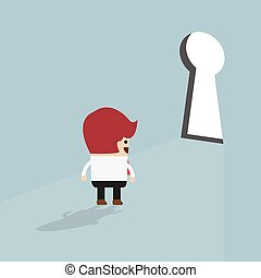 Businessman standing in front of keyhole, VECTOR, EPS10