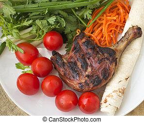Grill, grönsaken, Anka, steket