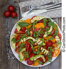 Salad of grilled avocado and multicolored tomatoes - Salad...