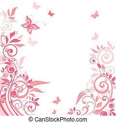 Pink floral greeting card