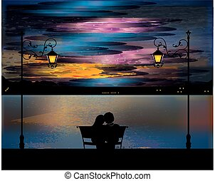 evening, - a composition with a couple who is sitting in the...