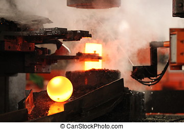 Automatic hot stamping process of grinding balls of round...