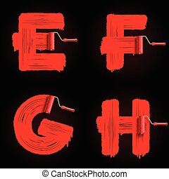 roller brush font - Red roller brush alphabet font