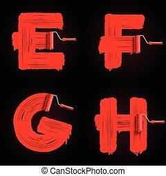 roller brush font - Red roller brush alphabet font